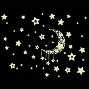 Fulltime(TM) Fluorescence Moon Star Glow in Dark Luminous Star Nursery Kid Baby Room Wall Sticker Home Decal