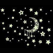 Fulltime(TM) Fluorescence Moon Star Glow in Dark Luminous Star Nursery Kid Baby Room Wall Sticker Home Decal