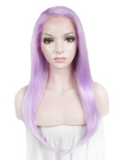 Long Straight Light Purple Cosplay Heat Resistant Wig Synthetic Lace Front Wig