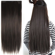 Gleader Clip in on hair Straight Tail extensions New human heat resistant fibe - Dark Brown