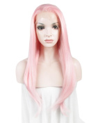 Lolita Sweet Style Pink Lady Long Silky Straight Wig Celebrity Synthetic Lace Front