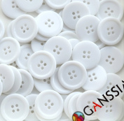 """GANSSIA 0.98"""" (25mm) Candy Colour Button White Coloured Pack of 50"""