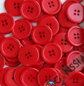 """GANSSIA 0.98"""" (25mm) buttons Red Coloured button Pack of 50"""