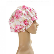 ALI JULIA Stylish Resistant Waterproof Bath Shower Cap with Lovly Pink Flower Pattern for Women- Elastic Band, Extra Large