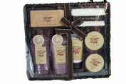 Tuscan Hills Cherry Blossom Deluxe 8 PC Bath & Body Gift Set with Wicker Vanity Tray