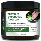 "Premium Therapeutic Foot Soak - ""TEA TREE + EUCALYPTUS"" + Free Pedicure Pumice Stone - 100% Pure Dead Sea Salt With Skin Healing Nutrients & Organic Essential Oils - Large 470ml"