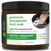 "Premium Therapeutic Foot Soak - ""TEA TREE + PEPPERMINT"" + Free Pedicure Pumice Stone - 100% Pure Dead Sea Salt With Skin Healing Nutrients & Organic Essential Oils - Large 470ml"