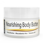 Body Butter Organic - Moisturiser for Dry Skin - Best Massage Cream, Treatment for Sun Damaged Skin & Winter Skin. Skin Hydrating Booster - Cocoa Butter, Macadamia Nut Oil, Tamanu Oil & Aloe - 120ml