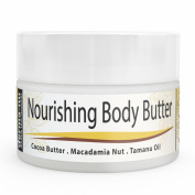 Body Butter Organic - Moisturiser for Dry Skin - Best Massage Cream, Treatment for Sun Damaged Skin & Winter Skin. Skin Hydrating Booster - Cocoa Butter, Macadamia Nut Oil, Tamanu Oil & Aloe - 120ml