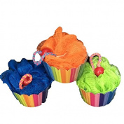 Body Sponge for Shower or Bath-Razz Cupcake Sponge with a Cherry on Top- 3 Cupcake No Calorie Sponges-blue,orange,green