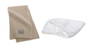 Aquis 48cm x 100cm Linen Waffle Hair Towel and Patented Size White Hair Turban