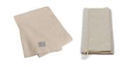Aquis 70cm x 140cm White Waffle Body Towel and 25cm x 90cm Linen Exfoliating Shower Towel