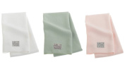 Aquis Lisse Set of 3 48cm x 100cm Hair Towels in White, Pink and Celadon
