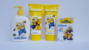 Despicable Me Minion Bath and Body Set with Bonus Adhesive Bandages - Shampoo, Body Wash, and Hand Soap Banana Scented