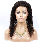 Unprocessed Natural Black Colour Brazilian Virgin Human Hair Kinky Curly Full Lace Front Wig