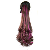 Abwin Bundled Fluffy Mixed Colour Wavy Ponytail / Dark Brown and Hot Pink