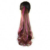 Abwin Bundled Fluffy Mixed Colour Wavy Ponytail / Light Brown and Hot Pink
