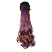 Abwin Bundled Fluffy Mixed Colour Wavy Ponytail / Light Brown and Purple
