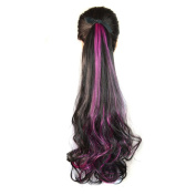 Abwin Bundled Fluffy Mixed Colour Wavy Ponytail / Black and Hot Pink