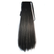 Bundled Fluffy Long Corn Hot Roll Ponytail / Black