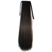 Bundled Fluffy Long Corn Hot Roll Ponytail / Brown Black