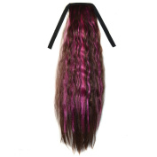 Abwin Mixed Colour Bundled Corn Hot Roll Ponytail / Dark Brown and Hot Pink