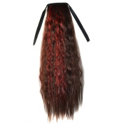Abwin Mixed Colour Bundled Corn Hot Roll Ponytail / Dark Brown and Red