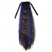 Abwin Mixed Colour Bundled Corn Hot Roll Ponytail / Dark Brown and Sapphire