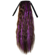 Abwin Mixed Colour Bundled Corn Hot Roll Ponytail / Dark Brown and Violet