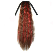Abwin Mixed Colour Bundled Corn Hot Roll Ponytail / Light Brown and Red