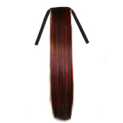 Abwin Bundled Long Straight Ponytail / Dark Brown and Red