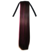 Abwin Bundled Long Straight Ponytail / Dark Brown and Hot Pink