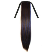 Abwin Bundled Long Straight Ponytail / Dark Brown and Sapphire