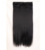 "Fashion Hairpiece Long Straight Dark Black 23""(58cm) 3/4 Full Head One Piece 5clips Clip in Hair Extensions Long Poplar Style for Xmas Gifts"