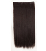 """Fashion Hairpiece Long Straight Dark Brown 23""""(58cm) 3/4 Full Head One Piece 5clips Clip in Hair Extensions Long Poplar Style for Xmas Gifts"""