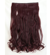 "Fashion Hairpiece Curly Wine Red 17""(43cm) 3/4 Full Head One Piece 5clips Clip in Hair Extensions Long Poplar Style for Xmas Gifts"