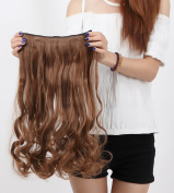 "Fashion Hairpiece Curly Light Brown 17""(43cm) 3/4 Full Head One Piece 5clips Clip in Hair Extensions Long Poplar Style for Xmas Gifts"