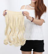 "Fashion Hairpiece Curly Bleach Blonde 17""(43cm) 3/4 Full Head One Piece 5clips Clip in Hair Extensions Long Poplar Style for Xmas Gifts"