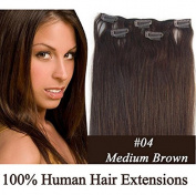 Futuretrend@38cm Full Head Remy Human Hair Extensions Clip in Human Hair Silky Soft 7pcs 70g #04