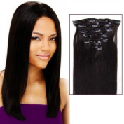"Futuretrend@15""/38cm High Quality Straight Hair Clip in Remy Human Hair for a Full Head ,Off Black (#1b) ,70g"
