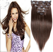 Futuretrend@50cm Clip in Remy Human Hair Extensions 4# Chocolate Brown 7pcs 70g