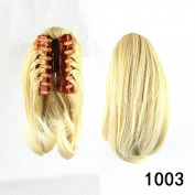Beauty Wig World 26cm 95g Short Straight Synthetic Hair Piece Claw Clip in/on Ponytail #Lightest blonde