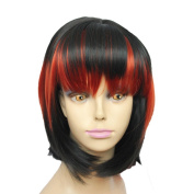 Capless Black And Red Ladder Colour BoBo Short Synthetic Hair Wig for Women