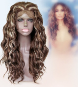 Cbwigs New Arrivel Synthetic Lace Front Wig Heat Resistant Curly Highlight Medium Brown and Pre Bleach Blonde Heavy Density Wig for Black Women 8/613#