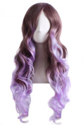 MOCOO Two Tone Heat Resistant Spiral Long Wavy Highlight Hair Wig Fashion Women Cosplay /Party Costume Wig( Brown Mixed Purple)JF007