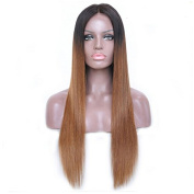 Ombre Colour Long Straight Human Hair Lace Front Wigs Glueless Lace Wigs for Women 130 Density