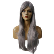 Namecute Long Straight Ombre Grey Wig for Women Cosplay Party