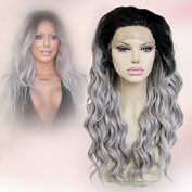 Cbwigs Long Wavy Synthetic Grey Ombre Lace Front Wig with Black Roots Heat Resistant Fibre Hair 2 Tones Half Hand Tied Lace Front Wig