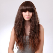Capless Fluffy Neat Bang Light Brown Character Long Wavy Synthetic Wig for Women