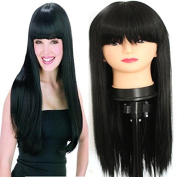 PlatinumHair black straight wigs synthetic lace front straight wigs for black women 60cm